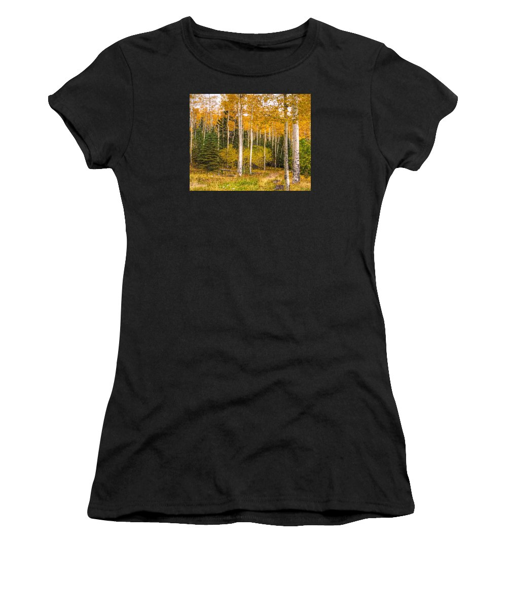 Aspens Women's T-Shirt (Athletic Fit) featuring the digital art Gold And Green by Darin Williams