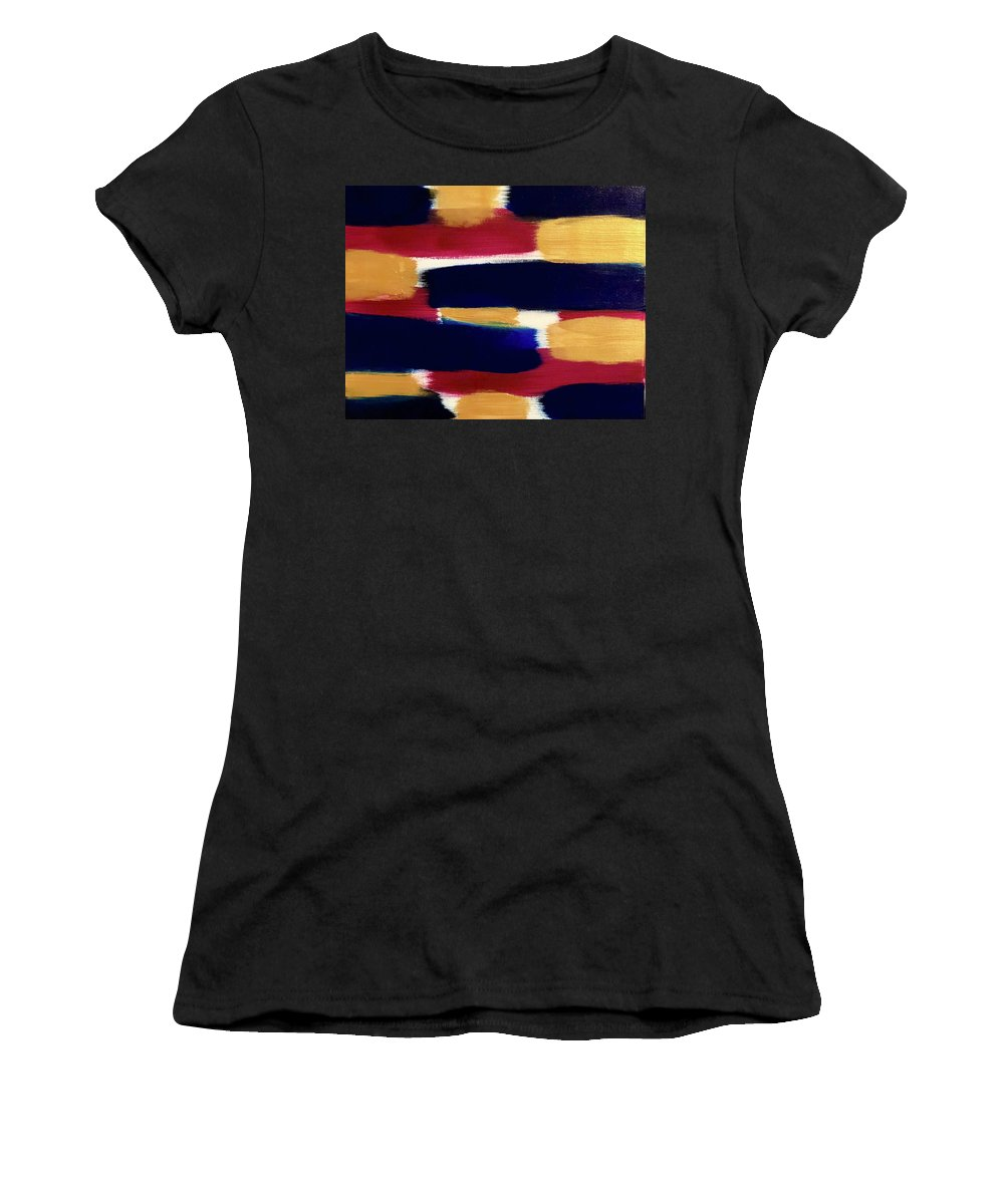 Abstract Women's T-Shirt (Athletic Fit) featuring the painting Gold Blue by Marcus Mabry