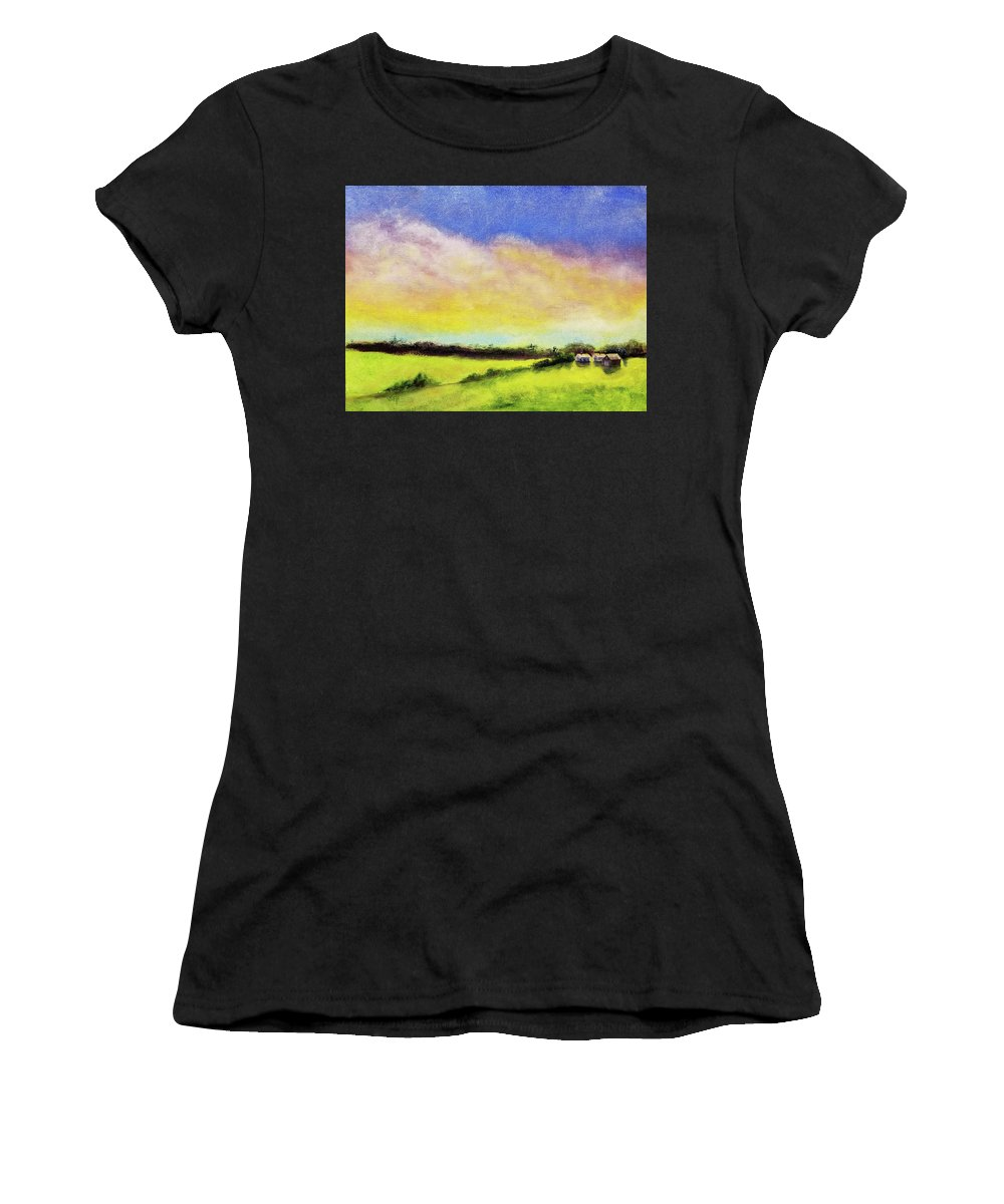 Cloud Women's T-Shirt (Athletic Fit) featuring the painting Gold In The Bank by Susan Hanna
