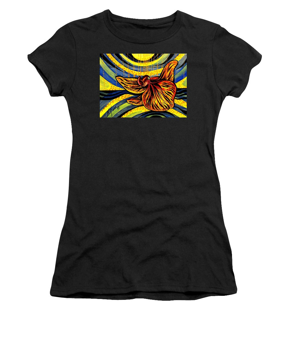 Inga Vereshchagina Women's T-Shirt (Athletic Fit) featuring the painting Gold Orchid by Inga Vereshchagina