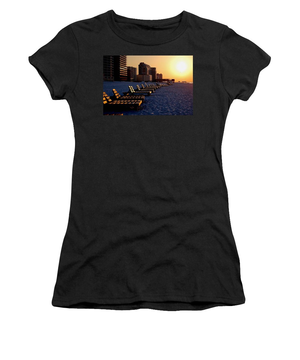 Beach Women's T-Shirt (Athletic Fit) featuring the painting Golden Benches by Michael Thomas