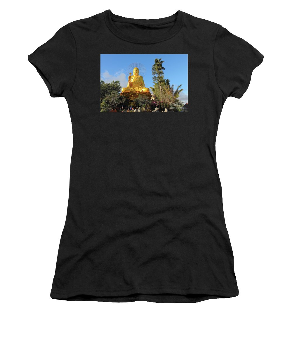 Asia Women's T-Shirt (Athletic Fit) featuring the photograph Golden Buddha In Vietnam Dalat by Mariia Kilina