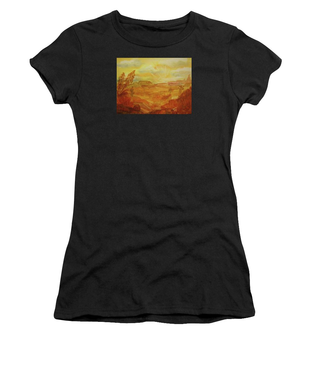 Golden Dawn Women's T-Shirt featuring the painting Golden Dawn by Ellen Levinson