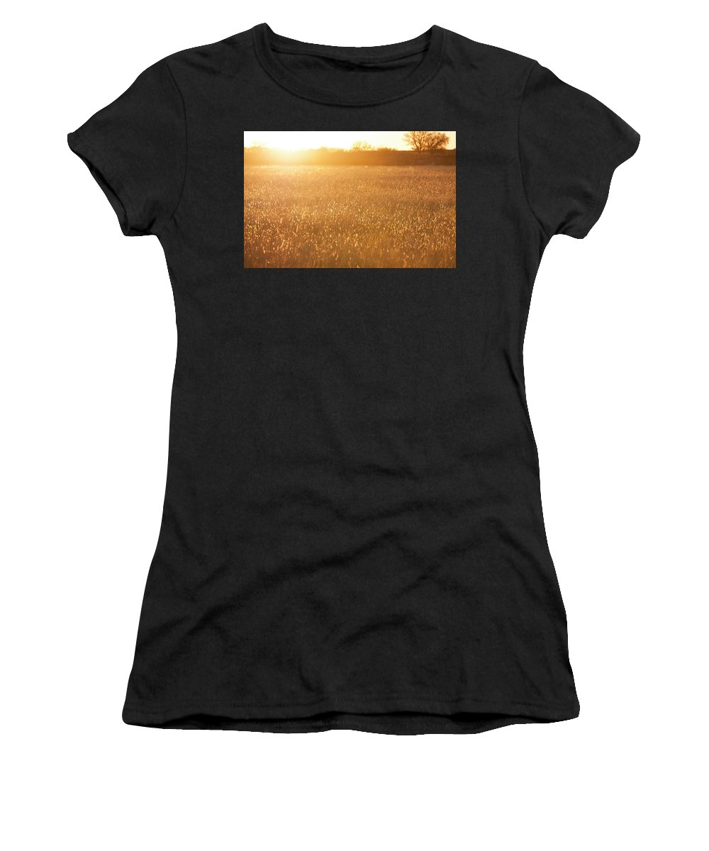 Farm Land Women's T-Shirt (Athletic Fit) featuring the photograph Golden Field by Mike Kelso