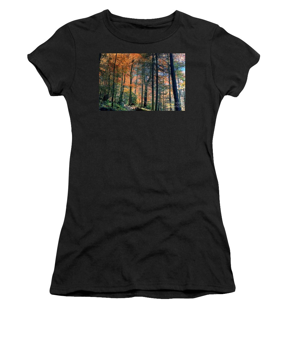 Nature Women's T-Shirt (Athletic Fit) featuring the photograph Golden Forest Path by Randy Matthews