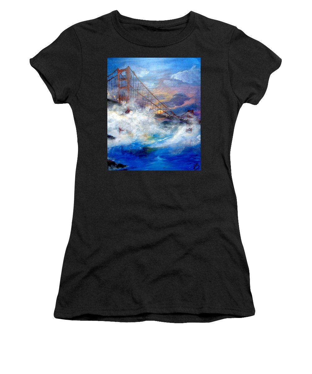 Golden Gate Women's T-Shirt (Athletic Fit) featuring the painting Golden Gate Sunset by Travis Day