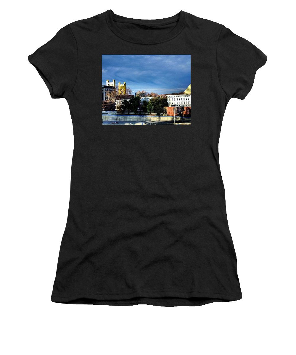 Blue Women's T-Shirt (Athletic Fit) featuring the photograph Golden Gate by Christopher Wilson