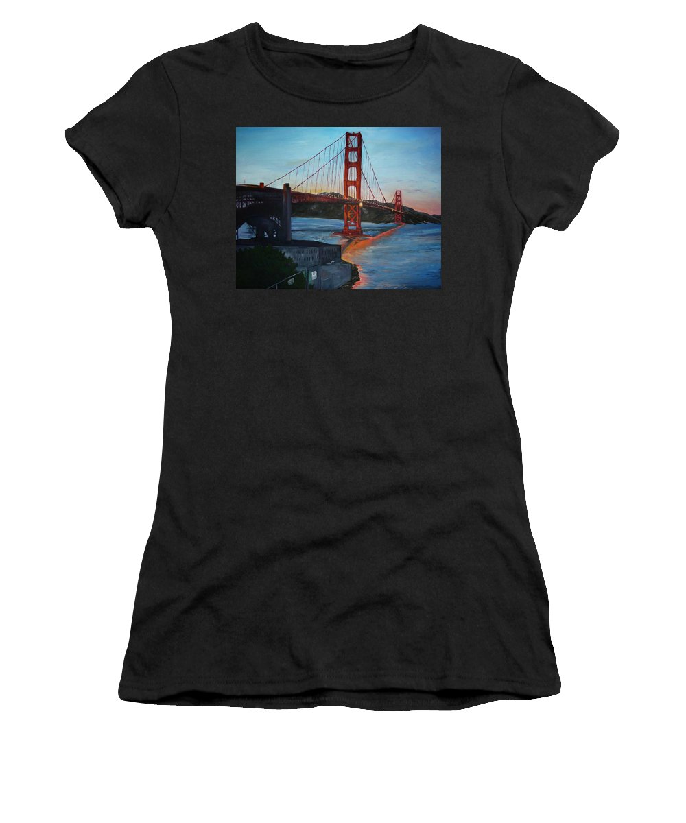 San Francisco Women's T-Shirt (Athletic Fit) featuring the painting Golden Gate by Travis Day