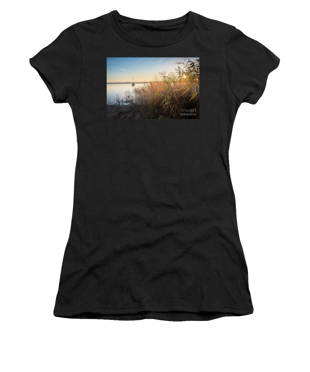 Ammersee Women's T-Shirt (Athletic Fit) featuring the photograph Golden Hour At The Lake by Hannes Cmarits