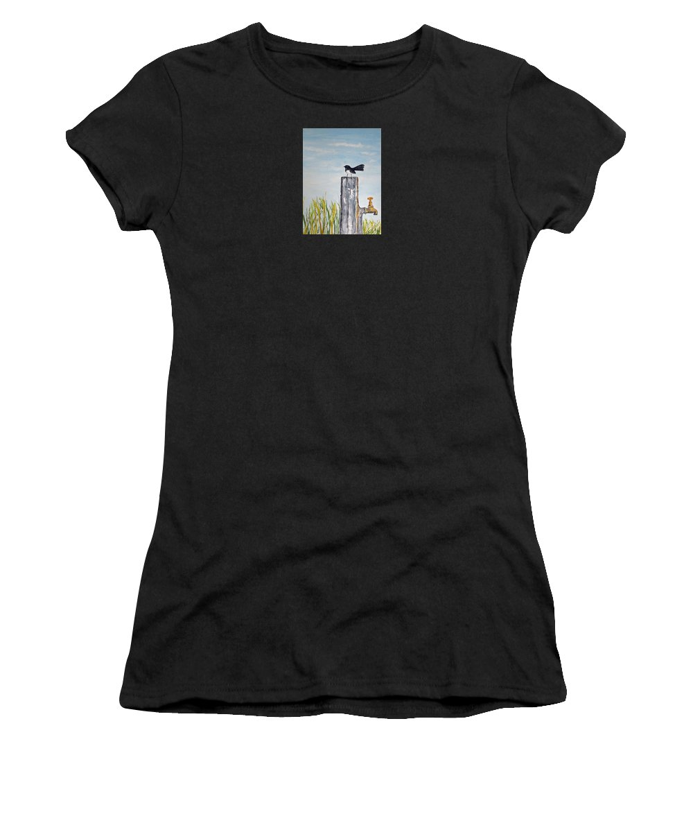 Bird Small Women's T-Shirt featuring the painting Golden Morning by Elvira Ingram