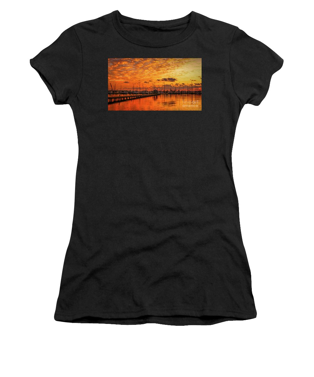 Sun Women's T-Shirt (Athletic Fit) featuring the photograph Golden Orange Sunrise by Tom Claud