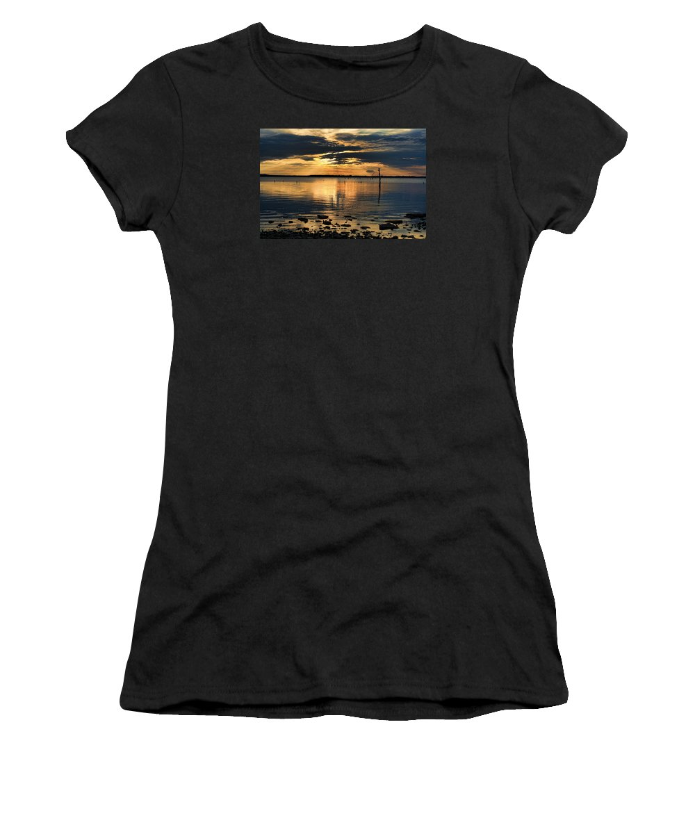 Sunset Women's T-Shirt (Athletic Fit) featuring the photograph Golden Rays At Sunset by Carolyn Fletcher