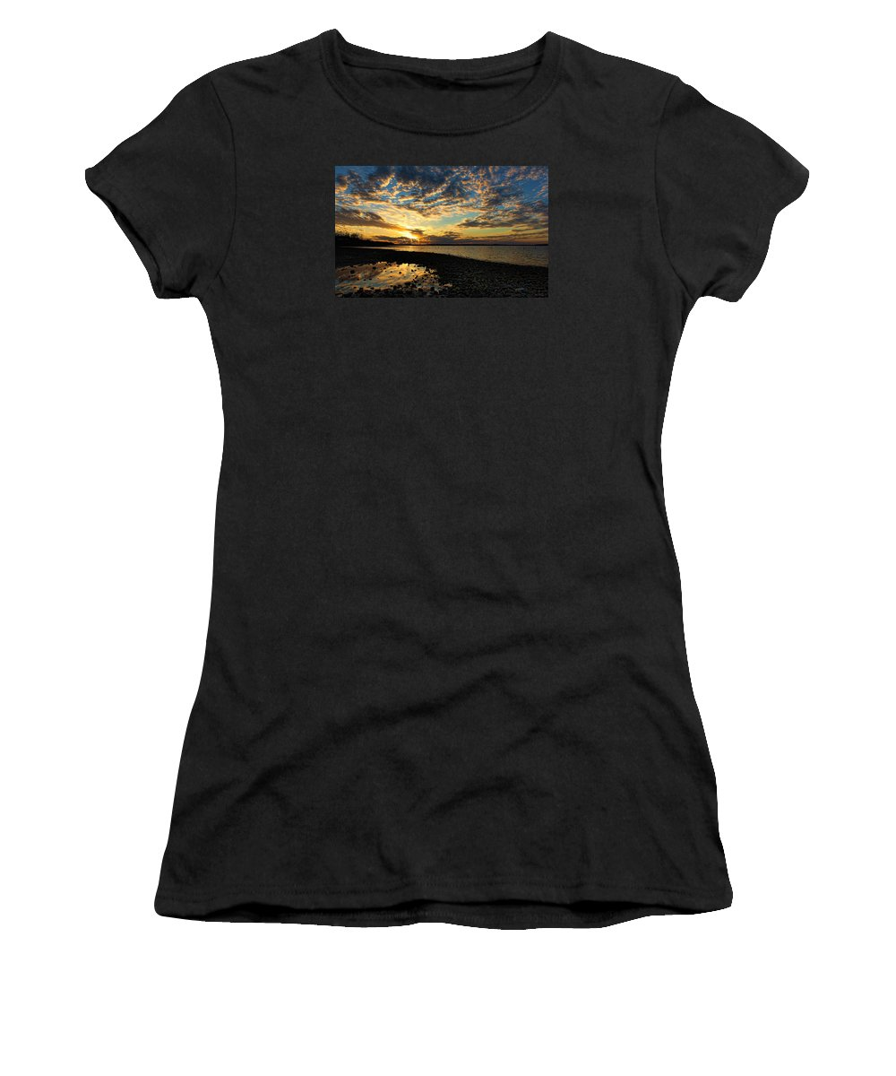 Sunset Women's T-Shirt (Athletic Fit) featuring the photograph Golden Reflections by Carolyn Fletcher