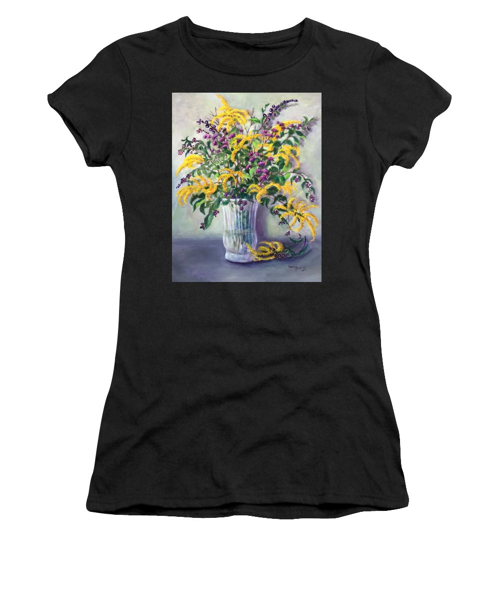 Wildflowers Women's T-Shirt featuring the painting Violet And Gold by Randy Burns