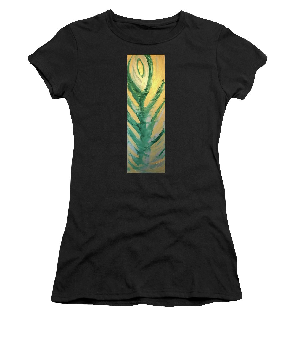 Law Of Attraction Women's T-Shirt (Athletic Fit) featuring the painting Golden Rose by Nicole Lowry