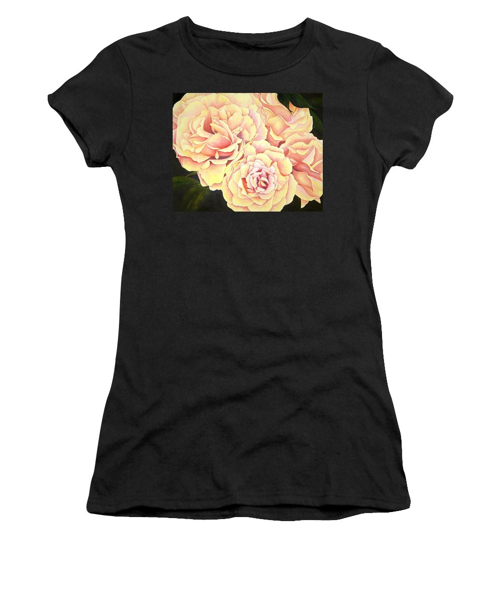 Roses Women's T-Shirt (Athletic Fit) featuring the painting Golden Roses by Rowena Finn