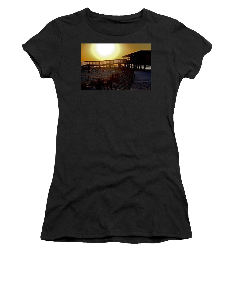 Beach Women's T-Shirt (Athletic Fit) featuring the painting Golden Slats by Michael Thomas