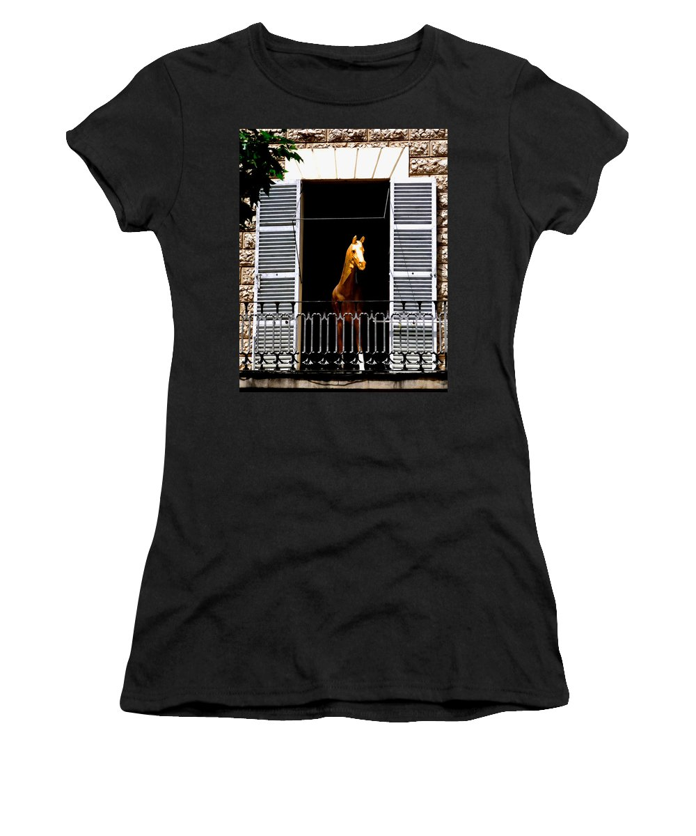 Horse Women's T-Shirt (Athletic Fit) featuring the photograph Golden Stallian by Charles Stuart