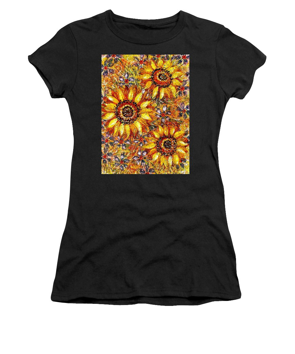Sunflowers Women's T-Shirt (Athletic Fit) featuring the painting Golden Sunflower by Natalie Holland