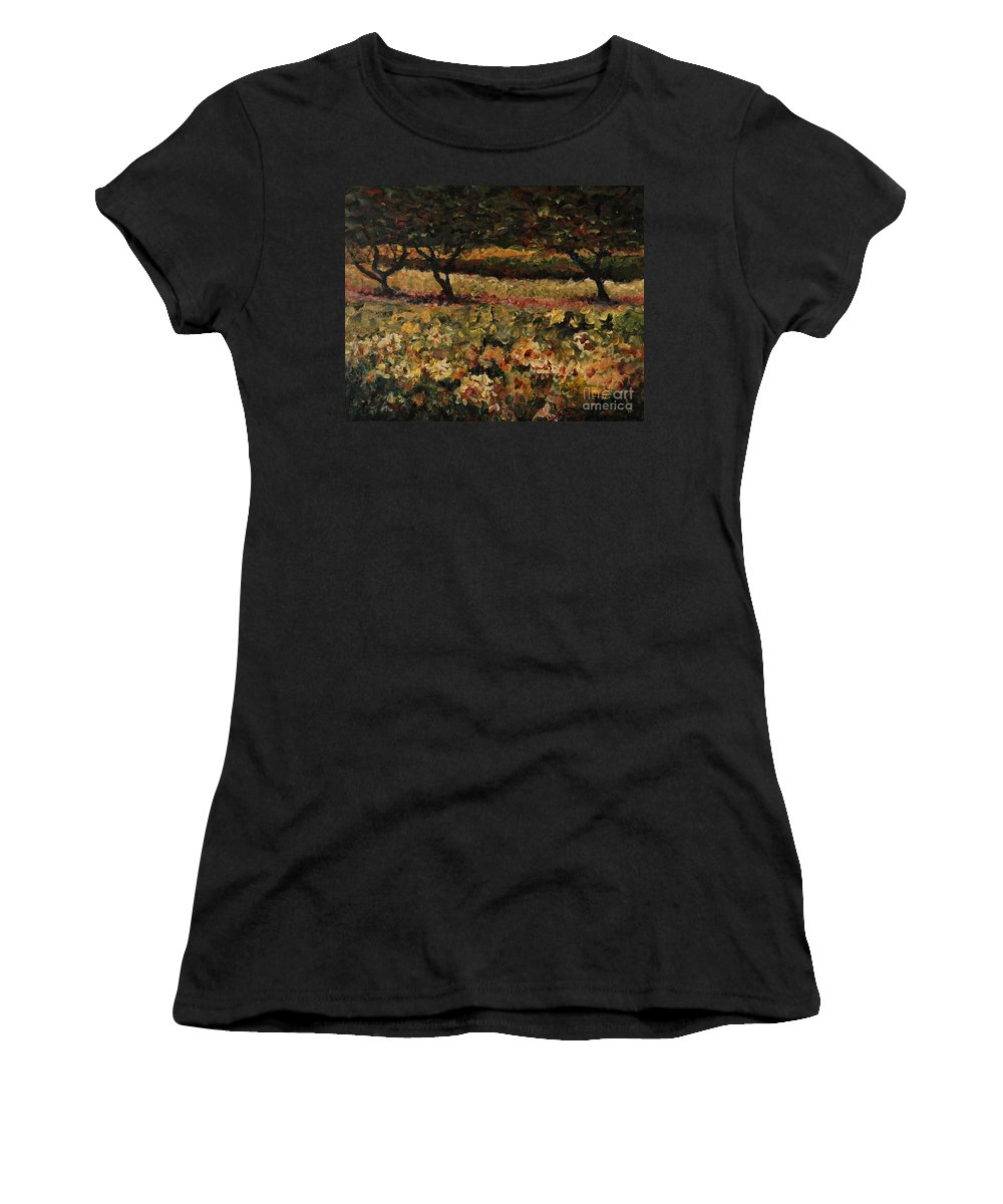 Landscape Women's T-Shirt (Athletic Fit) featuring the painting Golden Sunflowers by Nadine Rippelmeyer