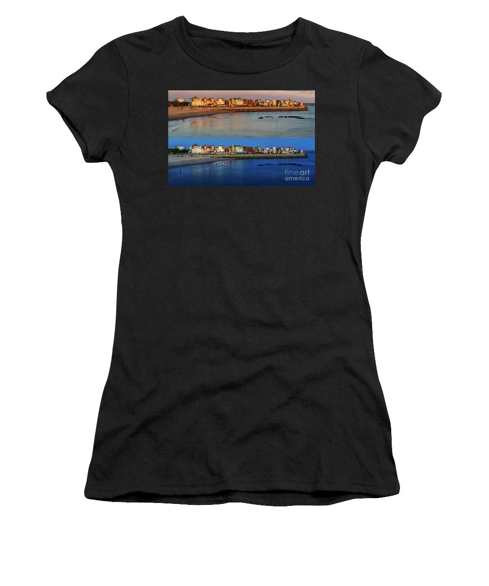 Andalucia Women's T-Shirt (Athletic Fit) featuring the photograph Golden To Blue Hour Puerto Sherry Cadiz Spain by Pablo Avanzini