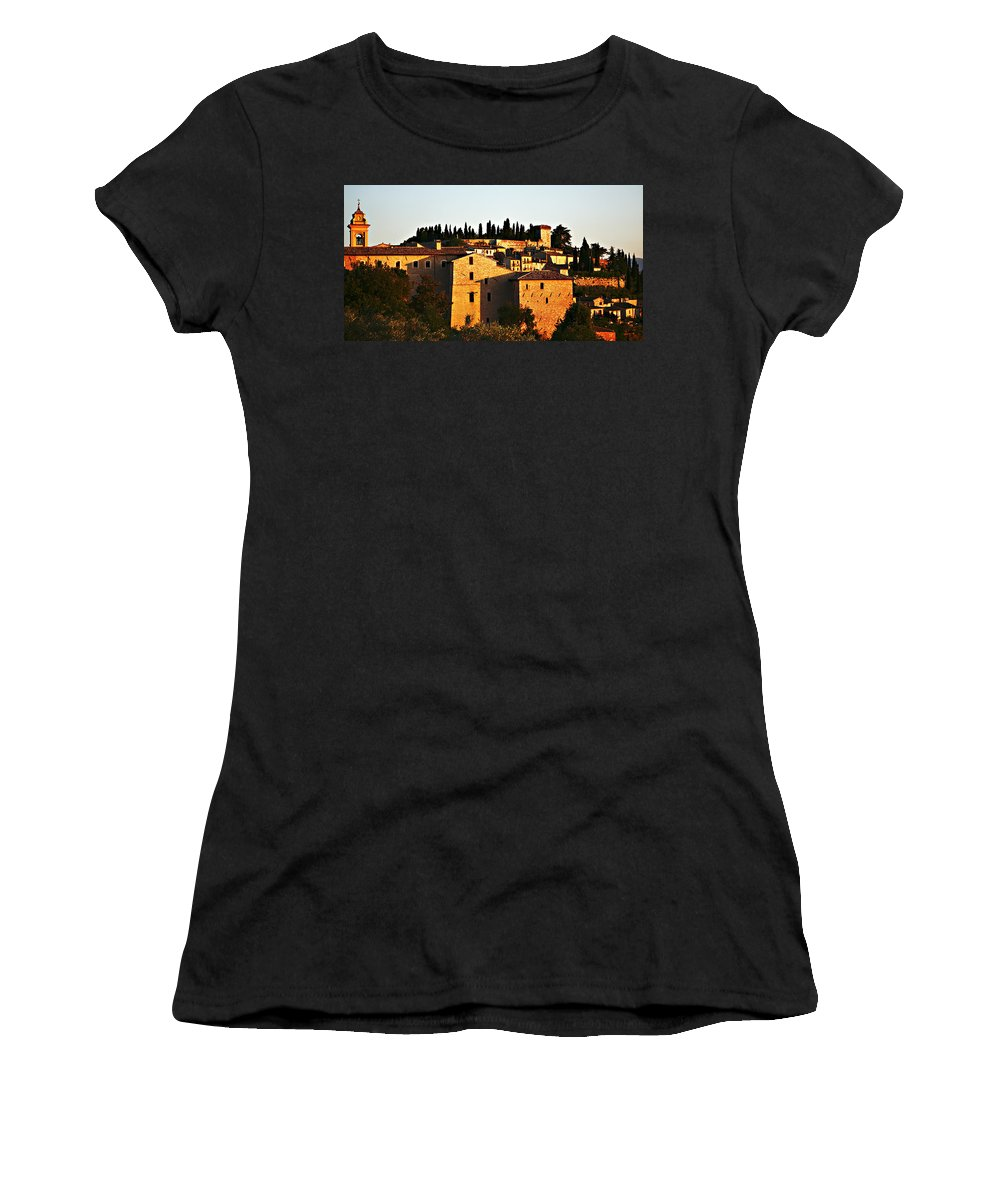 Church Women's T-Shirt (Athletic Fit) featuring the photograph Golden Town by Marilyn Hunt