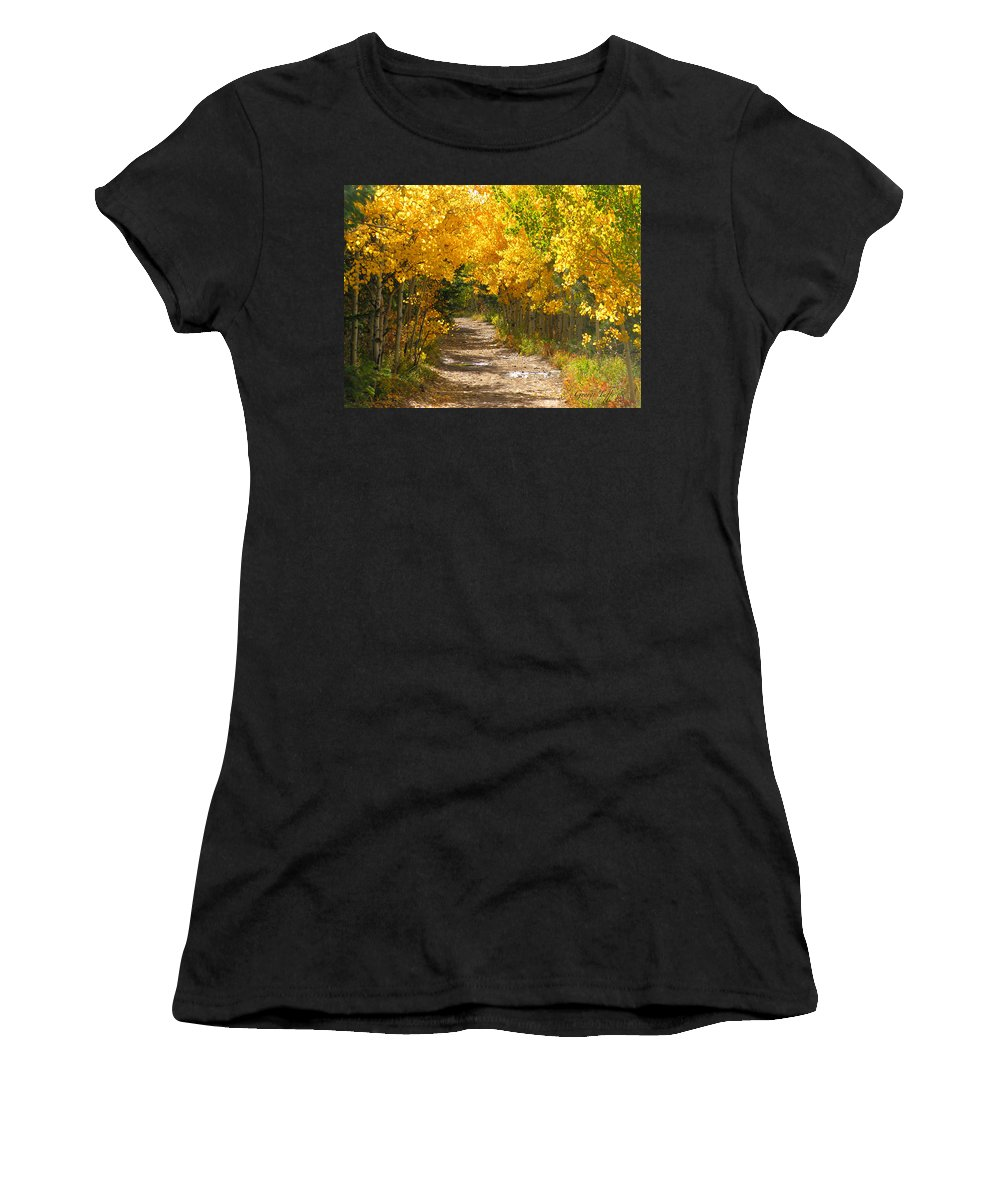 Fall Autumn Walk Path Hike Aspen Rocky Mountains Goldhill Sunny Women's T-Shirt (Athletic Fit) featuring the photograph Golden Tunnel by George Tuffy