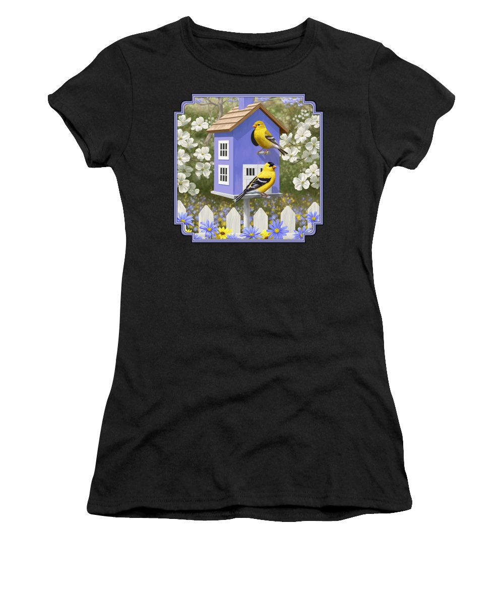 Wild Birds Women's T-Shirt featuring the painting Goldfinch Garden Home by Crista Forest