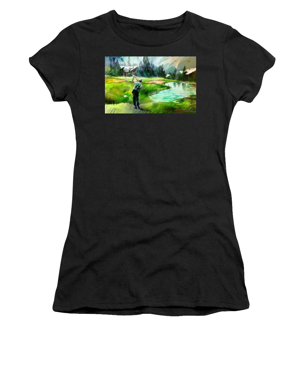 Golf Women's T-Shirt (Athletic Fit) featuring the painting Golf In Crans Sur Sierre Switzerland 01 by Miki De Goodaboom