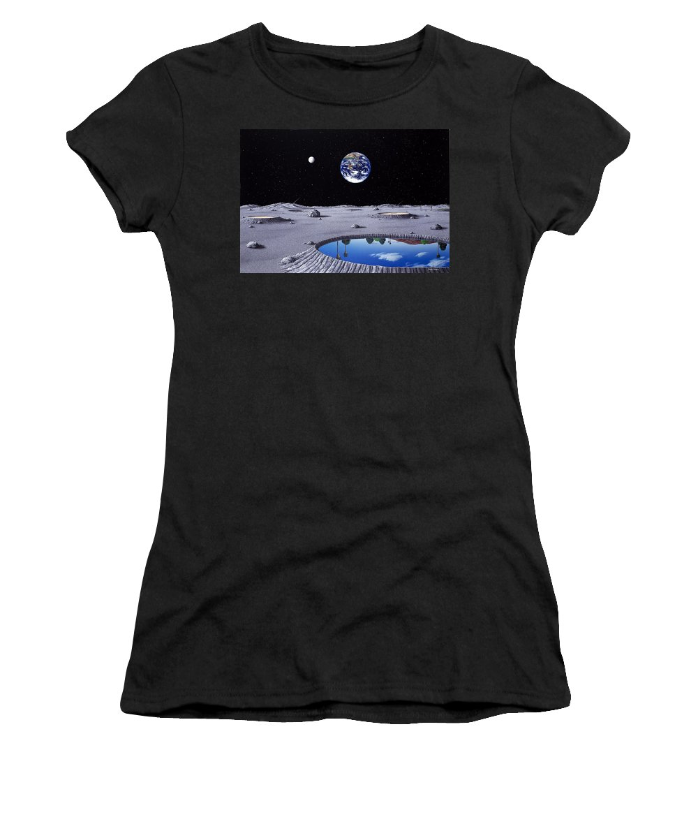 Landscape Women's T-Shirt featuring the painting Golfing On The Moon by Snake Jagger