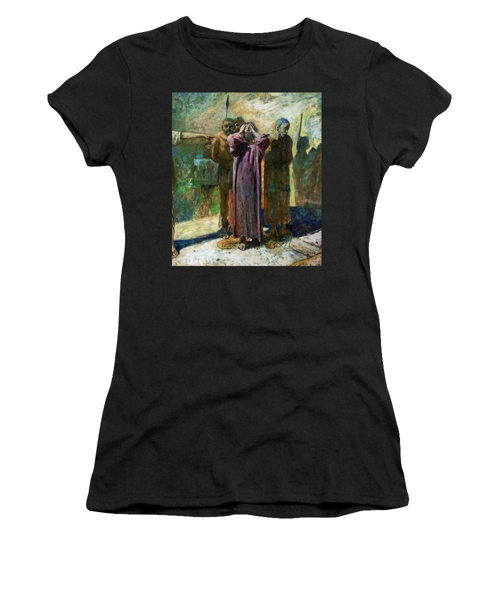 Golgotha Women's T-Shirt (Athletic Fit) featuring the painting Golgotha by Ge Nikolai