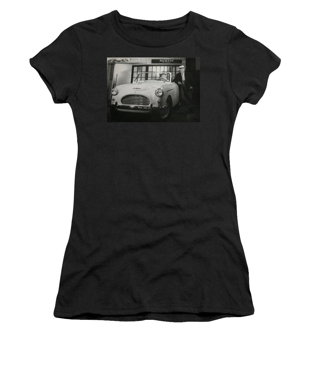 Men Man Classic Car Austin Car Show Black And White Photograph Women's T-Shirt (Athletic Fit) featuring the photograph Good Fellas by Andrea Lawrence