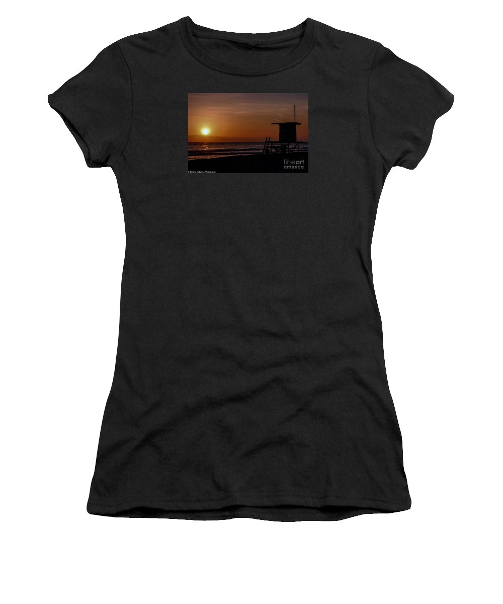 Newport Beach Women's T-Shirt featuring the photograph Good Night Newport Beach by Tommy Anderson