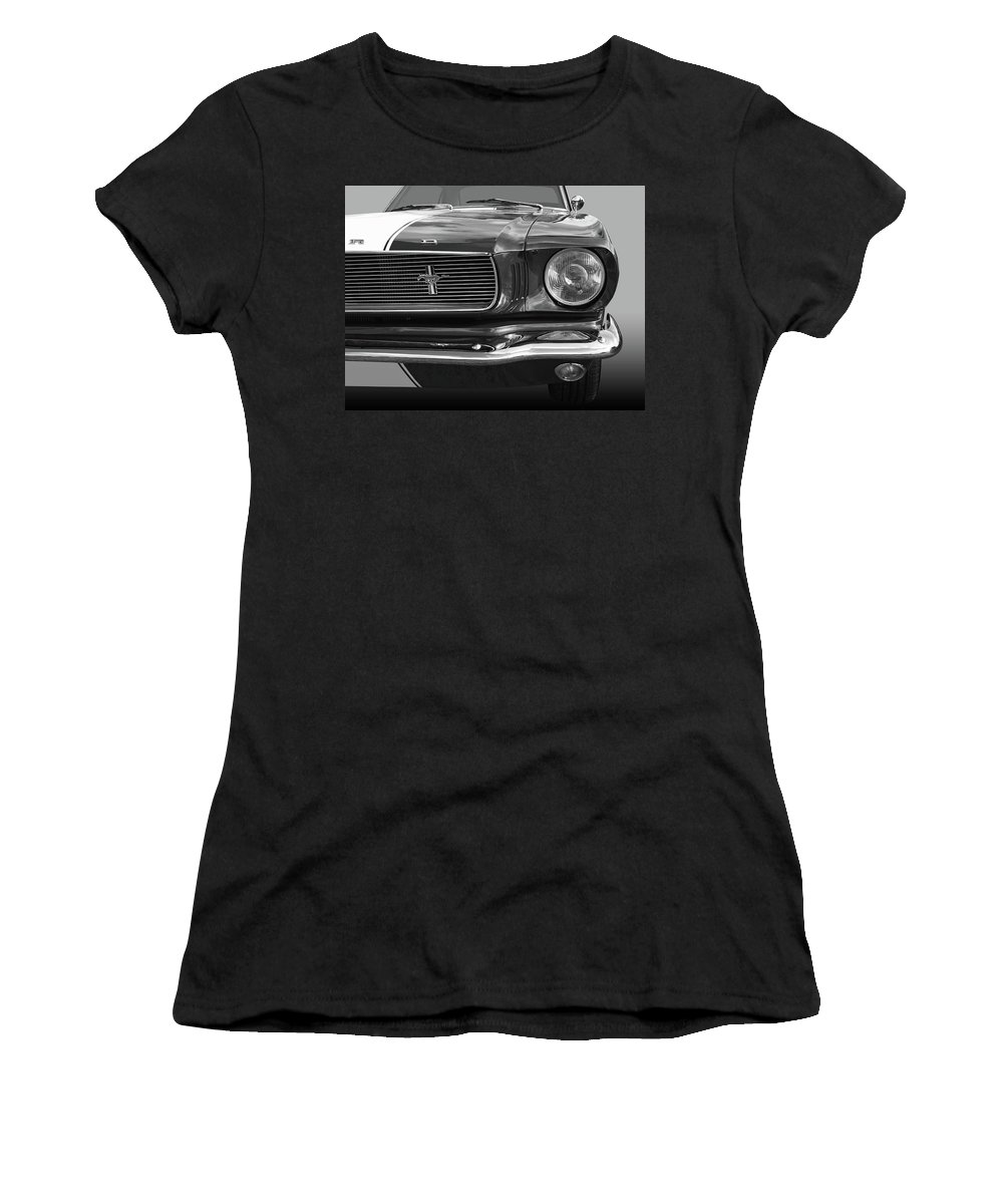 Ford Mustang Women's T-Shirt (Athletic Fit) featuring the photograph Good Vibrations - Black And White by Gill Billington