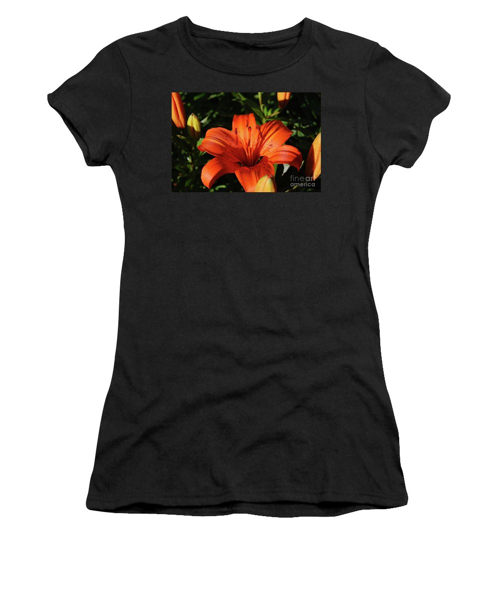 Lily Women's T-Shirt (Athletic Fit) featuring the photograph Gorgeous Pretty Orange Lily Flower Blooming In A Garden by DejaVu Designs