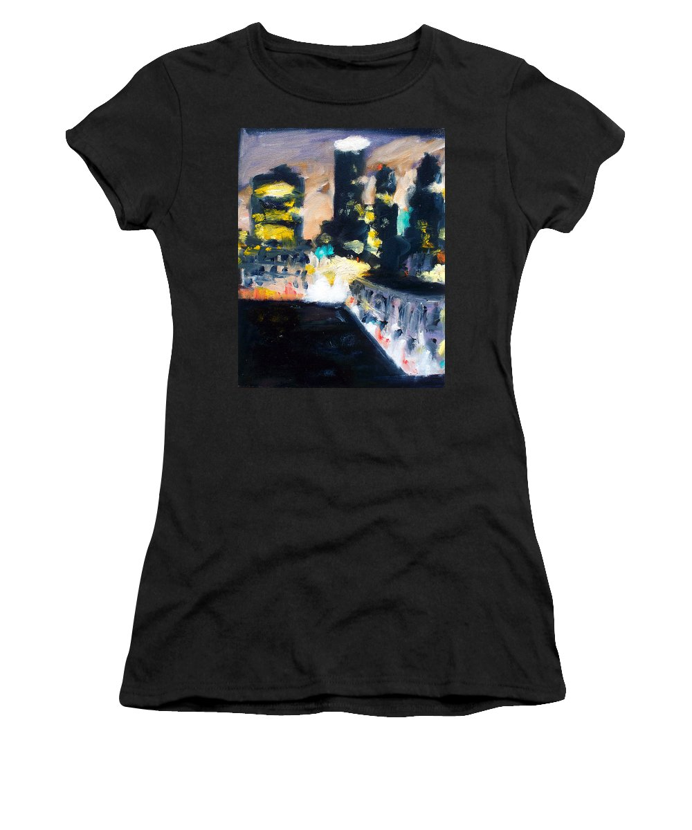 Des Moines Women's T-Shirt (Athletic Fit) featuring the painting Gotham by Robert Reeves