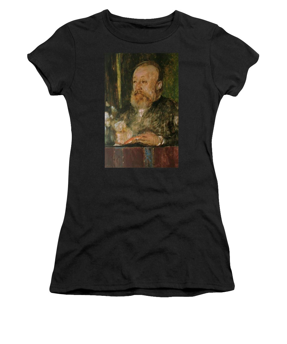 Gottfried Women's T-Shirt (Athletic Fit) featuring the painting Gottfried Keller by Bocklin Arnold