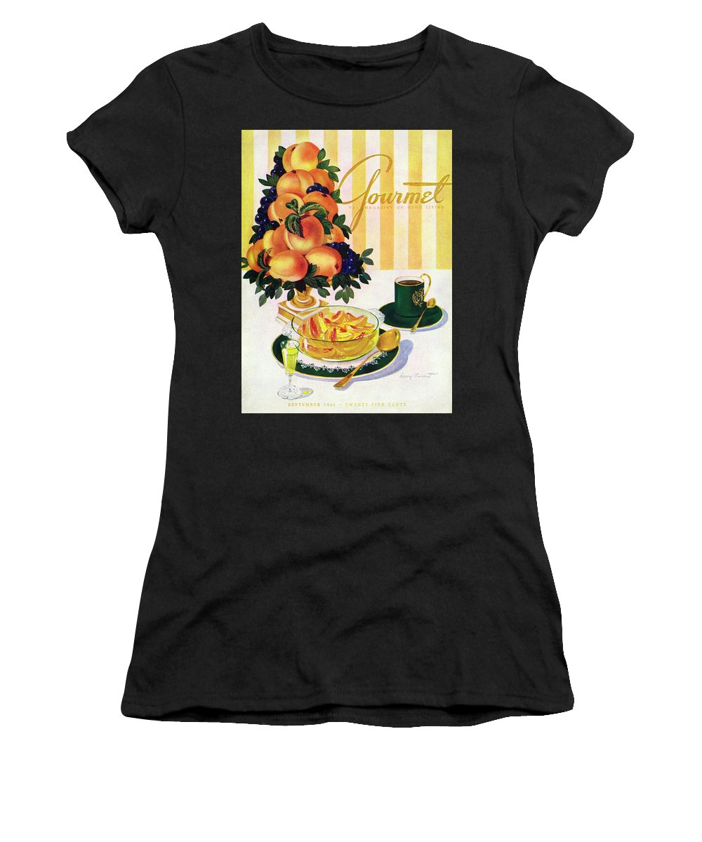 Illustration Women's T-Shirt featuring the photograph Gourmet Cover Featuring A Centerpiece Of Peaches by Henry Stahlhut