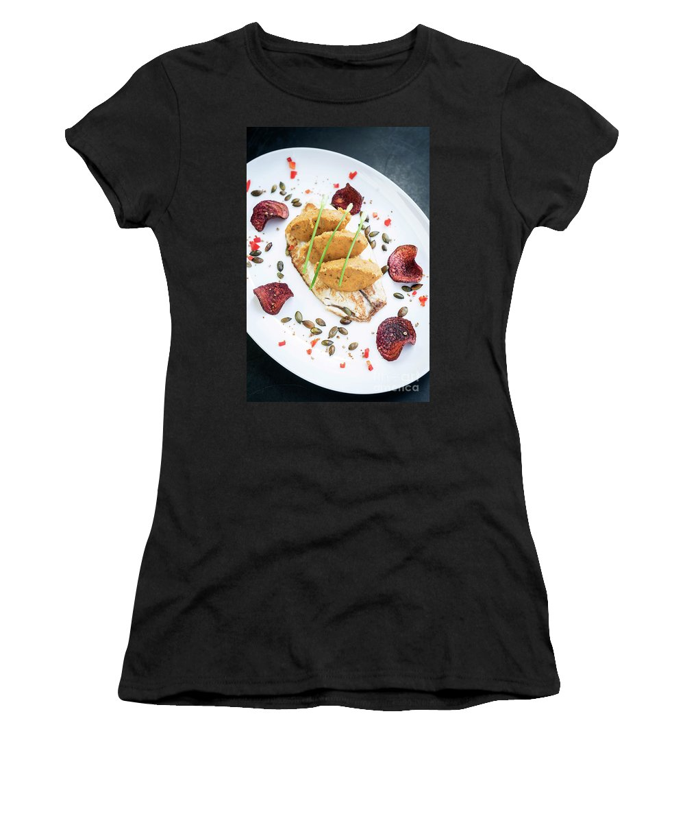 Artistic Women's T-Shirt (Athletic Fit) featuring the photograph Gourmet Fish Fillet With Chickpea Curry Puree Meal by Jacek Malipan