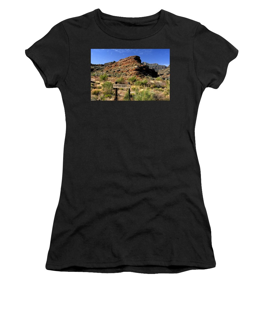 Grafton Utah Women's T-Shirt (Athletic Fit) featuring the painting Grafton Cemetery by David Lee Thompson