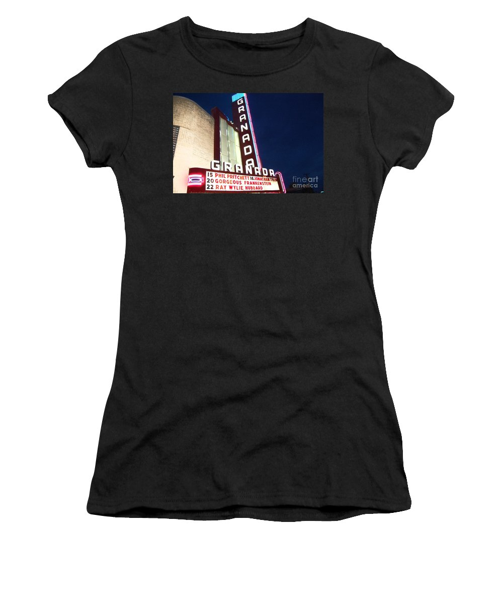 Music Women's T-Shirt (Athletic Fit) featuring the photograph Granada Theater by Debbi Granruth