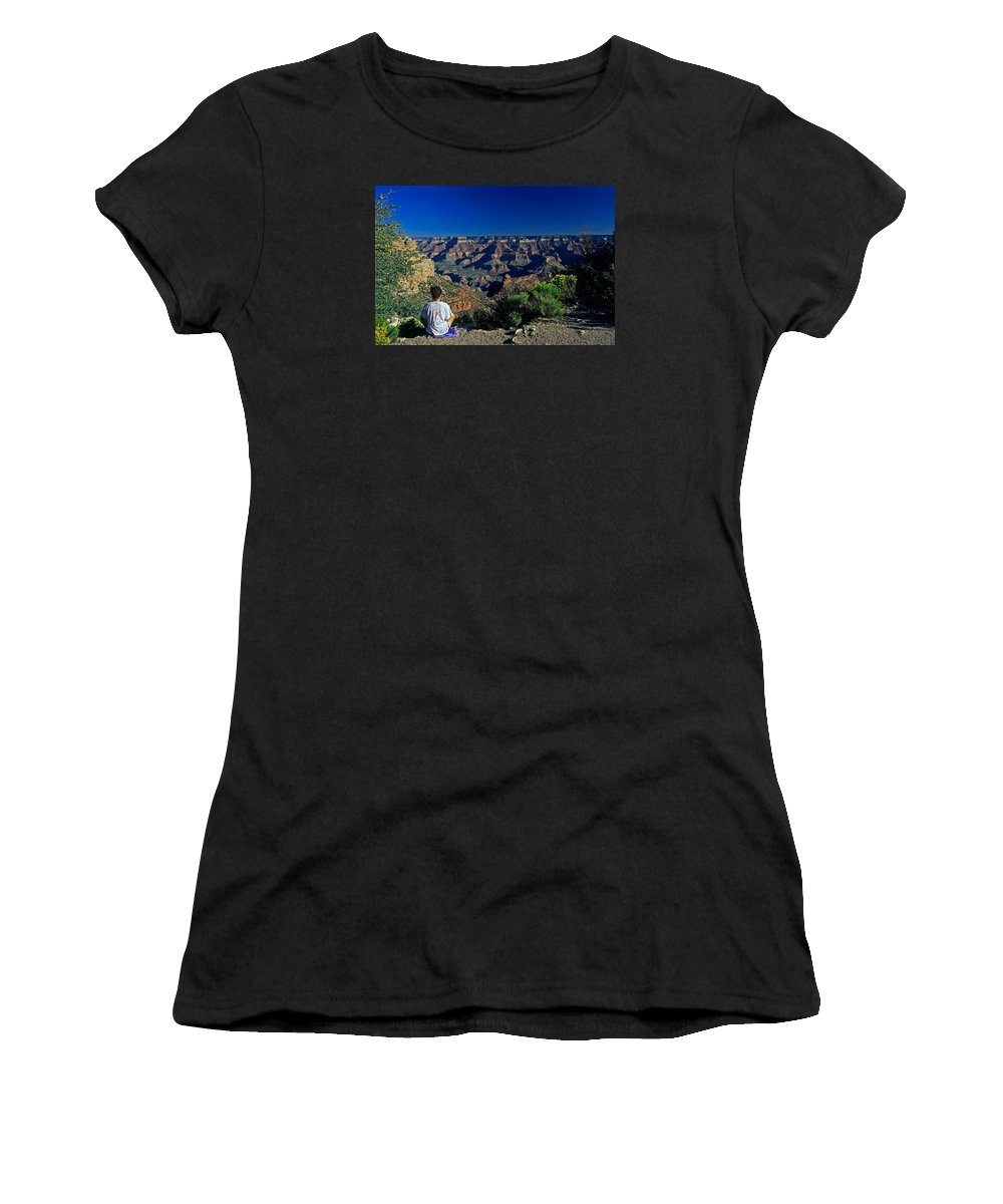 Woman Meditating Women's T-Shirt (Athletic Fit) featuring the photograph Grand Canyon Meditation by Sally Weigand