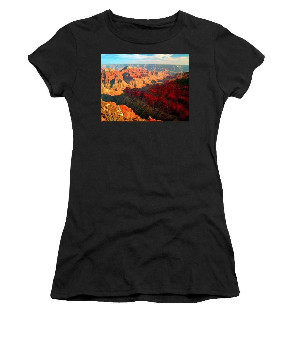 Landscape; Grand Canyon National Park Women's T-Shirt featuring the photograph Grand Canyon National Park Sunset On North Rim by Glenn W Smith