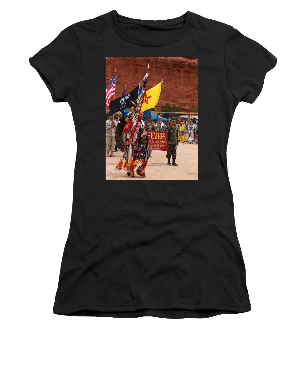 Pow-wow Women's T-Shirt (Athletic Fit) featuring the photograph Grand Entry At Star Feather Pow-wow by Tim McCarthy