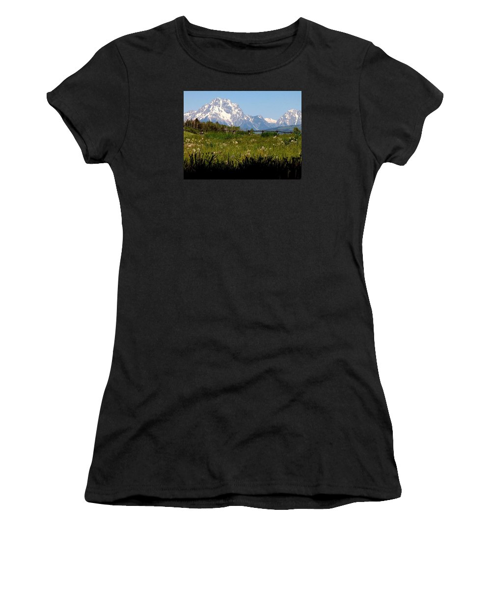 Tetons Women's T-Shirt (Athletic Fit) featuring the photograph Grand Tetons Mtn M 1994 by Sierra Dall