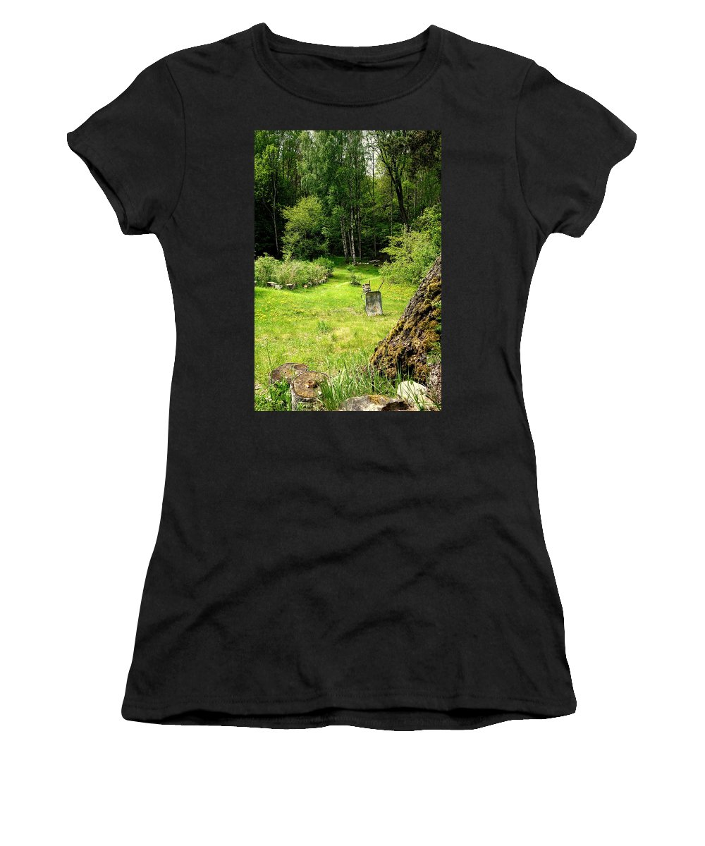 Garden Women's T-Shirt featuring the photograph remembering my grandmas garden when I'm making my own by Hilde Widerberg