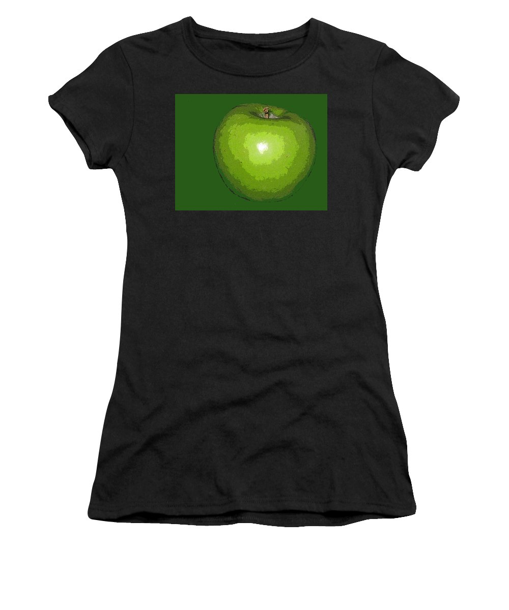 Apple Women's T-Shirt (Athletic Fit) featuring the digital art Granny Smith by Ian MacDonald