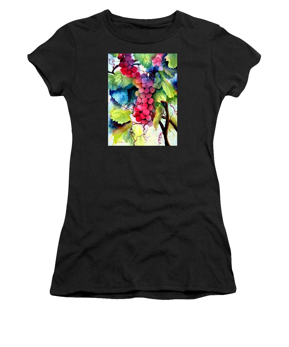 Grapes Women's T-Shirt (Athletic Fit) featuring the painting Grapes by Karen Stark
