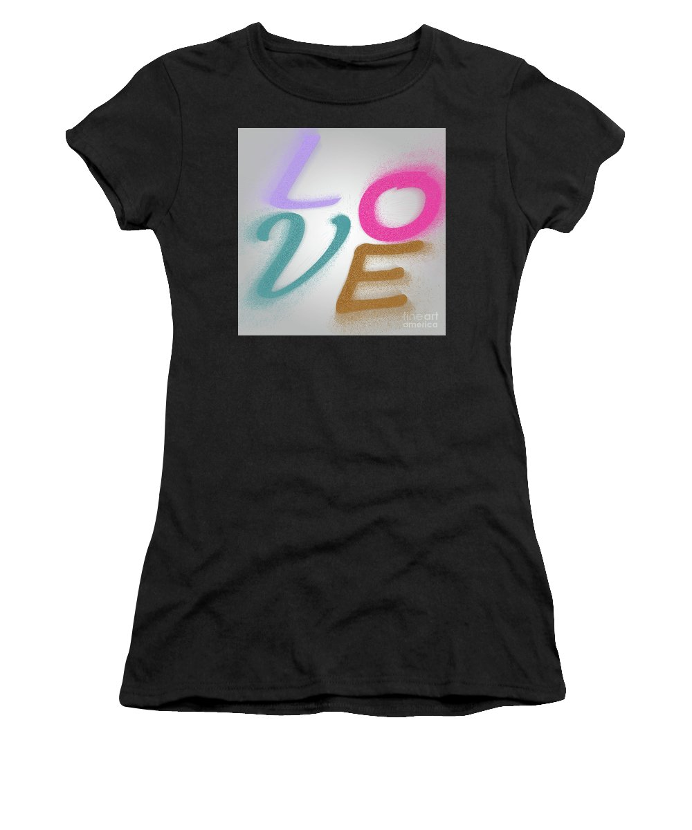 Word Women's T-Shirt (Athletic Fit) featuring the photograph Graphic Display Of The Word Love by Humourous Quotes