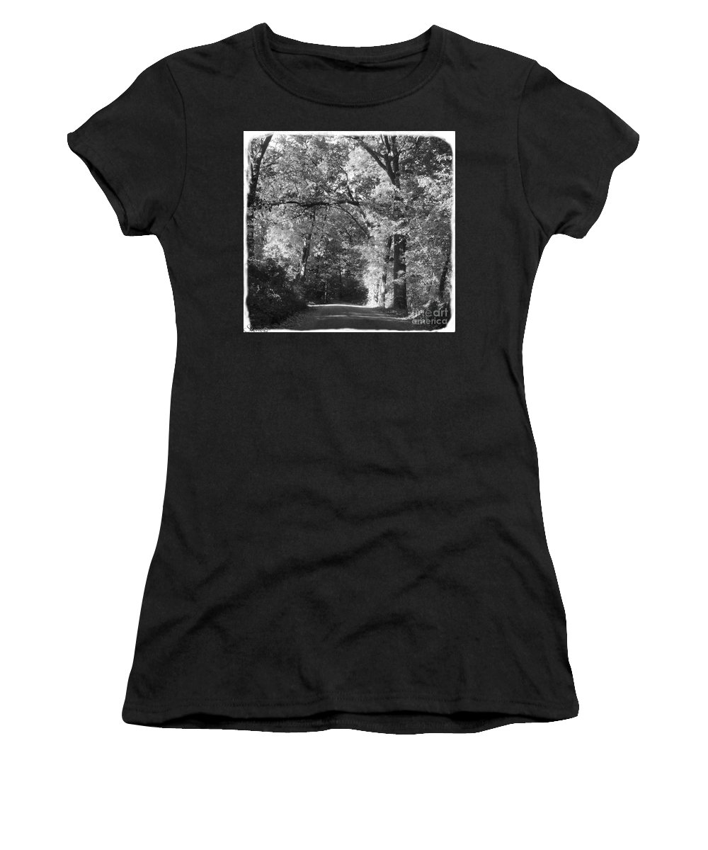Back Women's T-Shirt featuring the photograph Graves Rd by September Stone